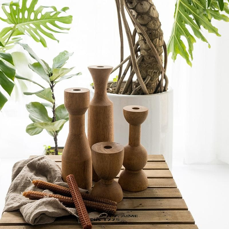 Wood Candle Holders in Modern Abstract Shapes for Boho Room Decor