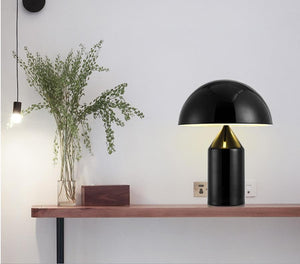 Bauhaus Gold Tone Metal Table Lamp for Retro Modern Office Home Decor