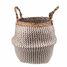 Load image into Gallery viewer, Handwoven natural seagrass storage basket with handles