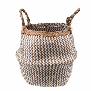Handwoven natural seagrass storage basket with handles