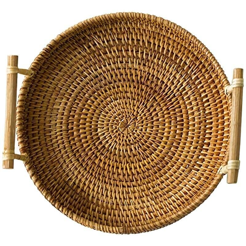 Brown Woven Rattan Tray with handles