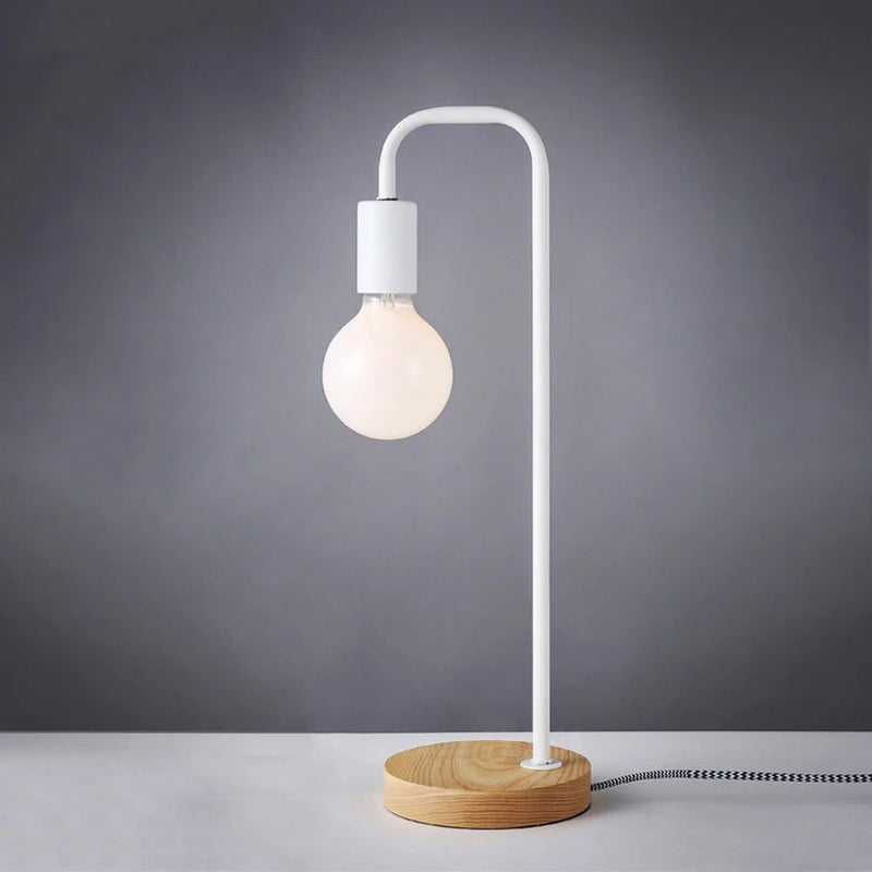 white industrial metal wooden desk lamp