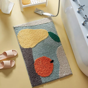 Abstract Art and Colorful Fruit Bath Mats for Modern Room and Home Decor