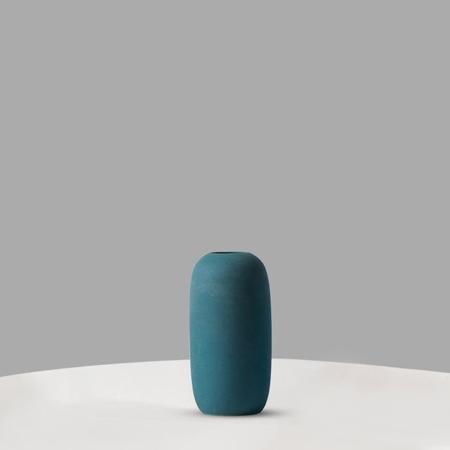Teal Blue Green High Tube Minimalist Ceramic Vase