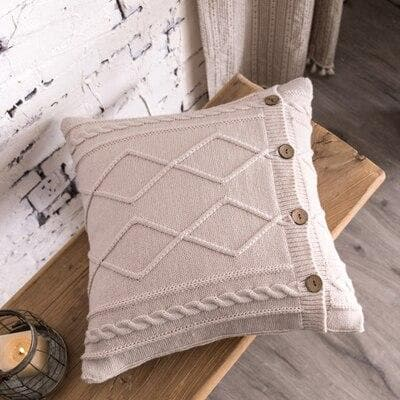 square diamond knitted beige cushion cover