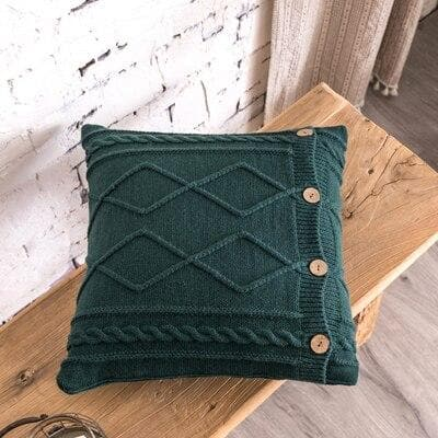 square diamond knitted dark green cushion cover
