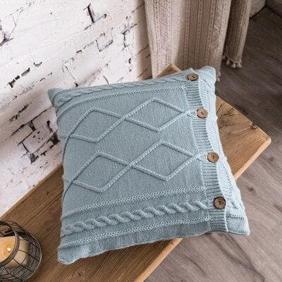 square diamond knitted sky blue cushion cover