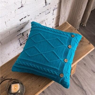 square diamond knitted blue cushion cover