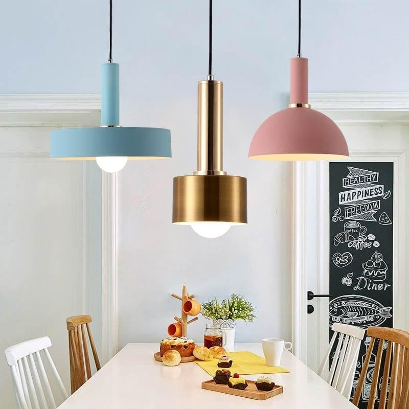 Matte metal Modern geometrical neutral pastel color pendant lamps