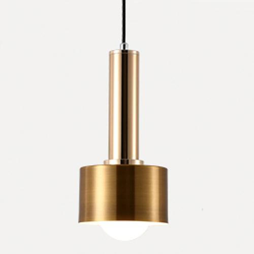 Matte Gold metal cylinder Modern geometrical neutral pastel color pendant lamp