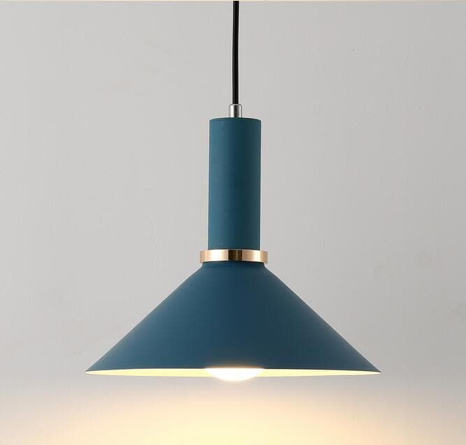 Matte cone Navy blue metal Modern geometrical neutral pastel color pendant lamp