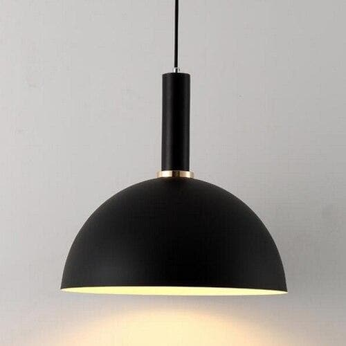 Matte half sphere Black metal Modern geometrical neutral pastel color pendant lamp