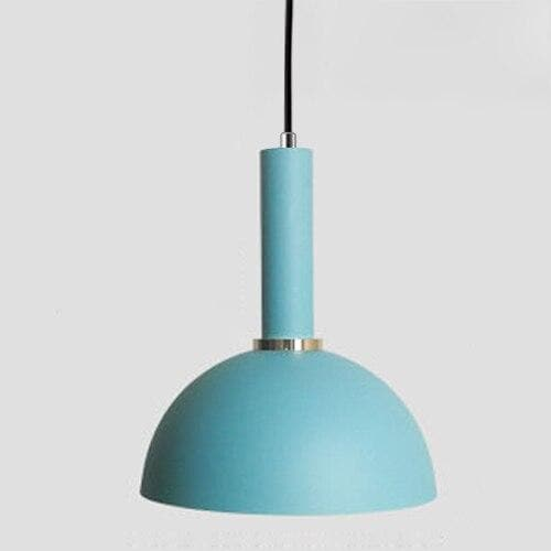 Matte half sphere Light blue metal Modern geometrical neutral pastel color pendant lamp