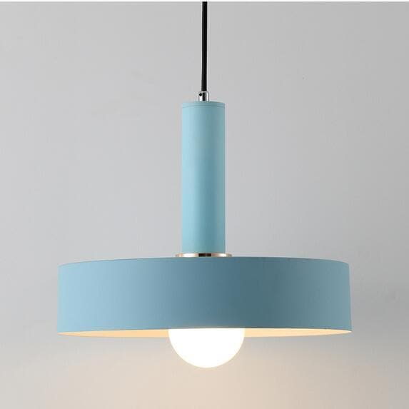 Matte blue disc metal Modern geometrical neutral pastel color pendant lamp