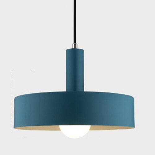 Matte navy blue disc metal Modern geometrical neutral pastel color pendant lamp