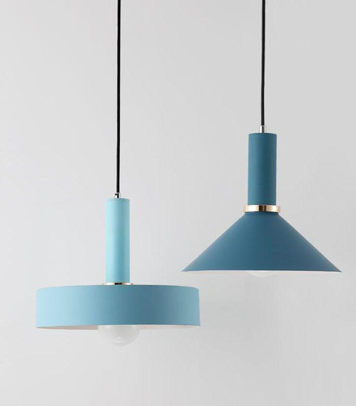 Matte blue metal Modern geometrical neutral pastel color pendant lamps