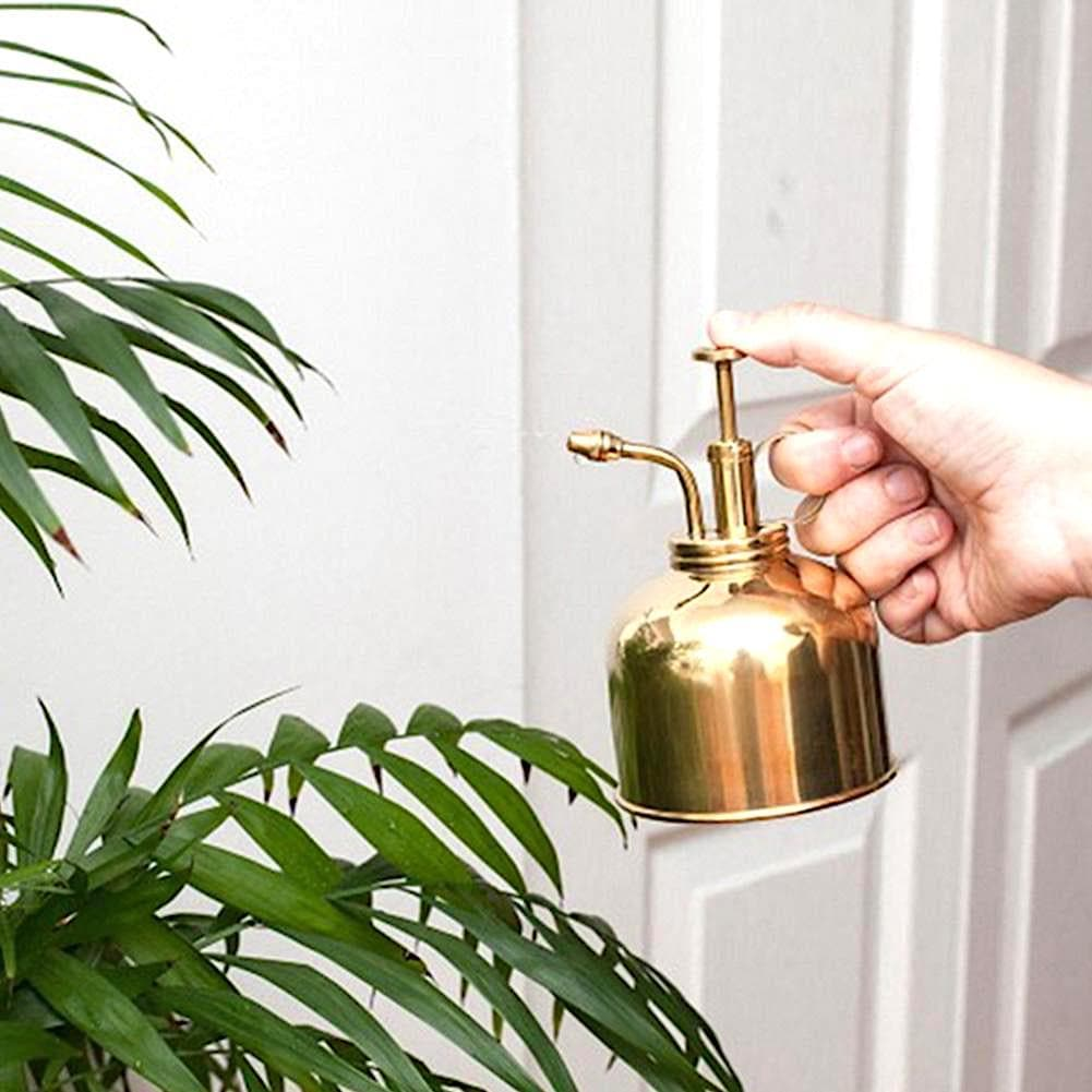 Gold Metal Plant Watering Can for Home Garden and Porch
