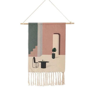 Wall Hanging tapestry with geometric designs, made of Woven cotton with tassel fringe and wooden hanging dowel