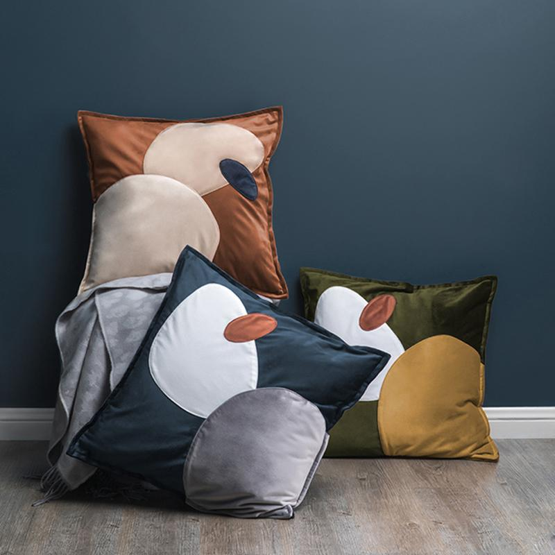 Trendy Abstract Ovals Cushion Covers Online Florida in Suede Microfiber and Velvet NEutral Blue Yellow Brown Olive