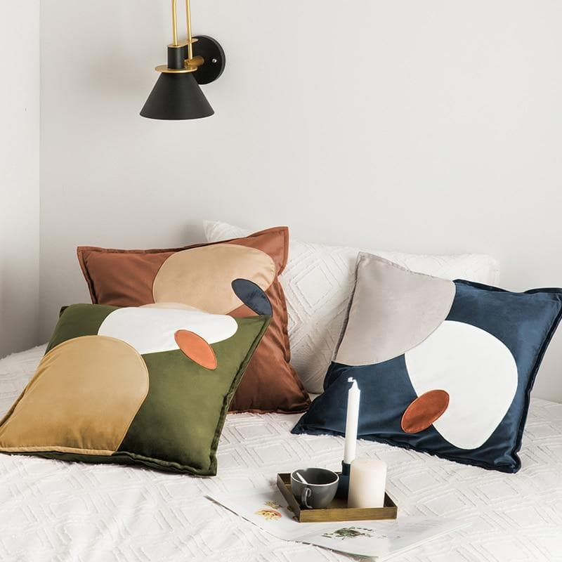 Trendy Abstract Ovals Cushion Covers Online Florida in Suede Microfiber and Velvet NEutral Blue Yellow Olive Brown