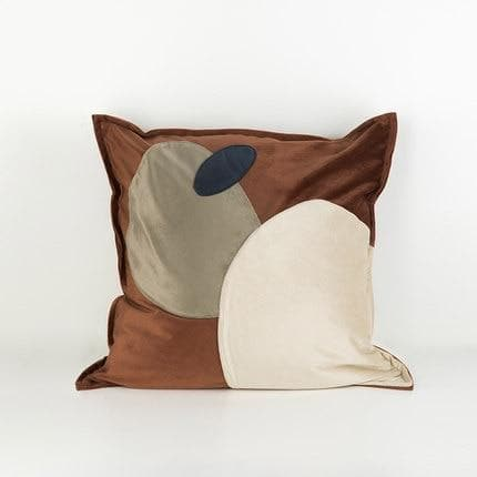 Trendy Abstract Ovals Cushion Covers Online Florida in Suede Microfiber and Velvet NEutral Blue Yellow Brown