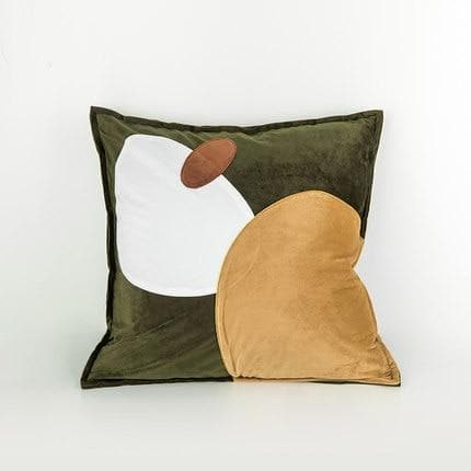 Trendy Abstract Ovals Cushion Covers Online Florida in Suede Microfiber and Velvet NEutral Blue Yellow Olive