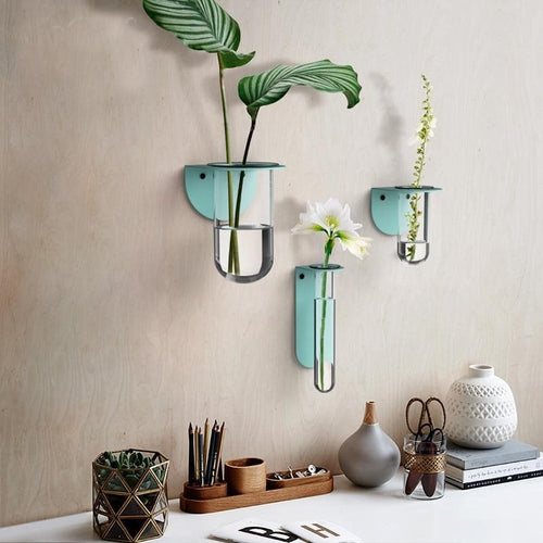 Glass and Metal Flower Vase for Wall Decor and Planter Aqua