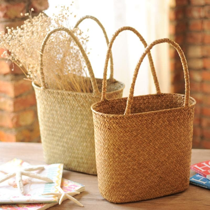 Weaved Wicker Rattan Storage Basket Tote with Handles