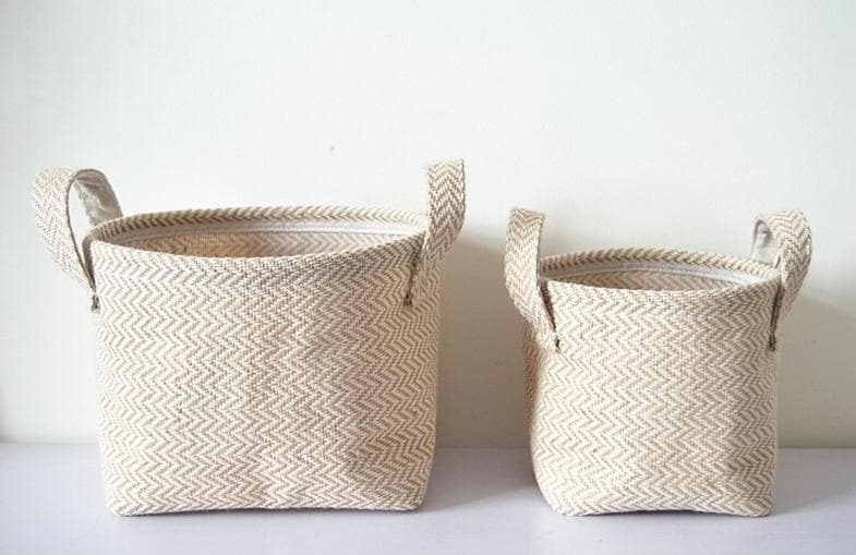 Weaved Hemp Storage Basket with Handles in Natural color