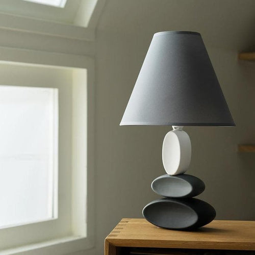 Stone Ceramic Table Lamp in Grey Monochrome Black and White