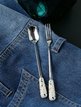 Load image into Gallery viewer, Terrazio Ceramic Stainless Steel Flatware Fork and Spoon