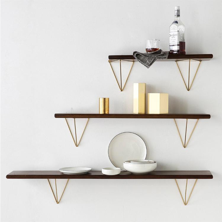 Real Wood Wall Shelves and Angle Shaped Gold Metal Brackets