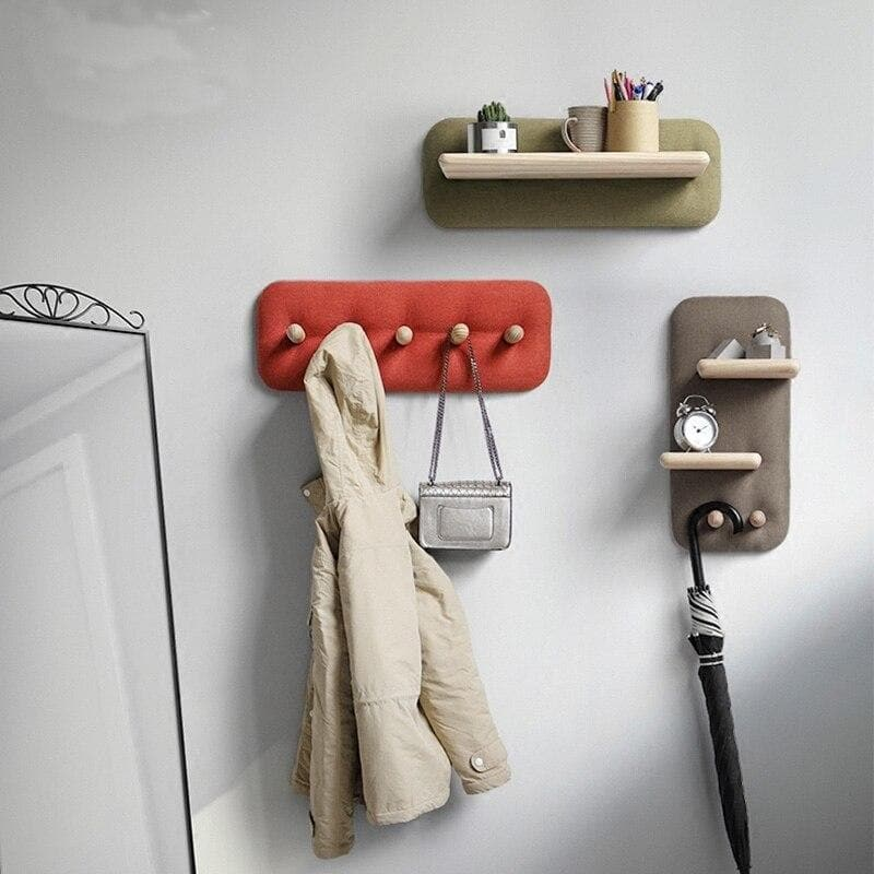 Wall Hanging Organizer knobs and Hooks with Fabric and Wood Linen