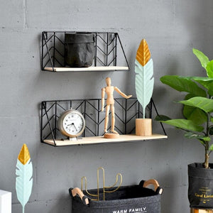 Black Metal and Wood Shelf with Geometric Patterns