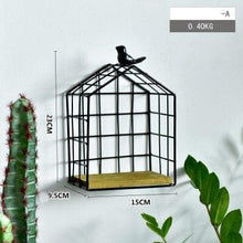 Load image into Gallery viewer, Black Metal and Wood Shelf with Geometric Patterns Bird Cage