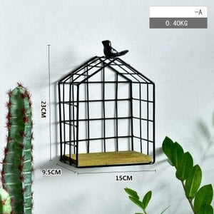 Black Metal and Wood Shelf with Geometric Patterns Bird Cage