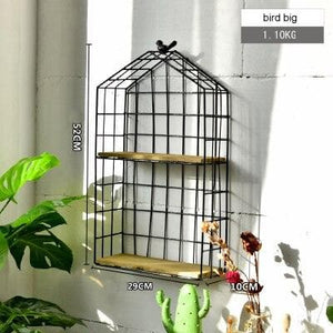 Black Metal and Wood Shelf with Geometric Patterns Bird cage large