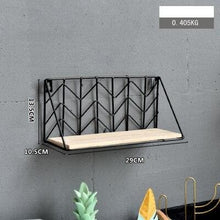 Load image into Gallery viewer, Black Metal and Wood Shelf with Geometric Patterns