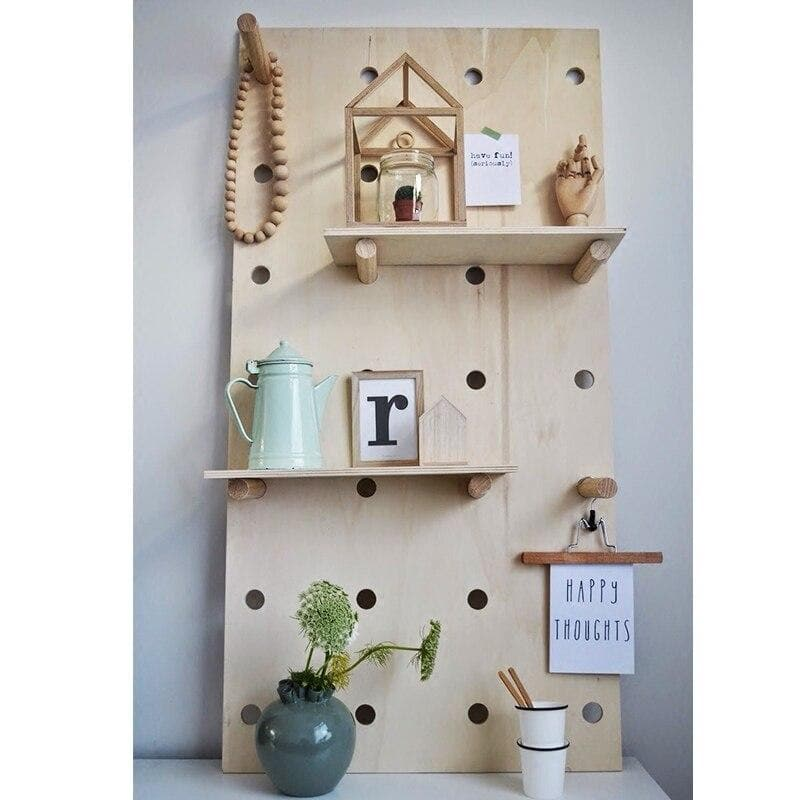 Wooden Wall Hooks and Cork Board with Shelves