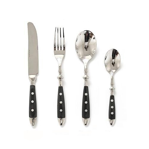 Fine Luxury Flatware in Silver Stainless steel 18/8 and Black Resin 4pc set