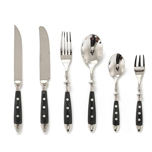 Fine Luxury Flatware in Silver Stainless steel 18/8 and Black Resin set 6 pc