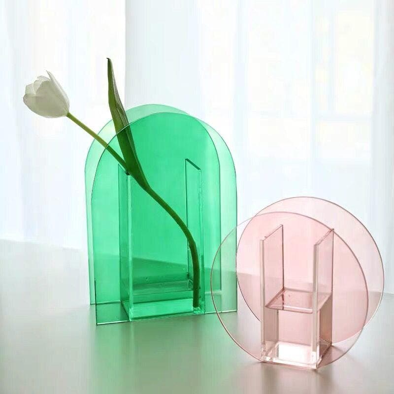 Green and pink Acrylic vase