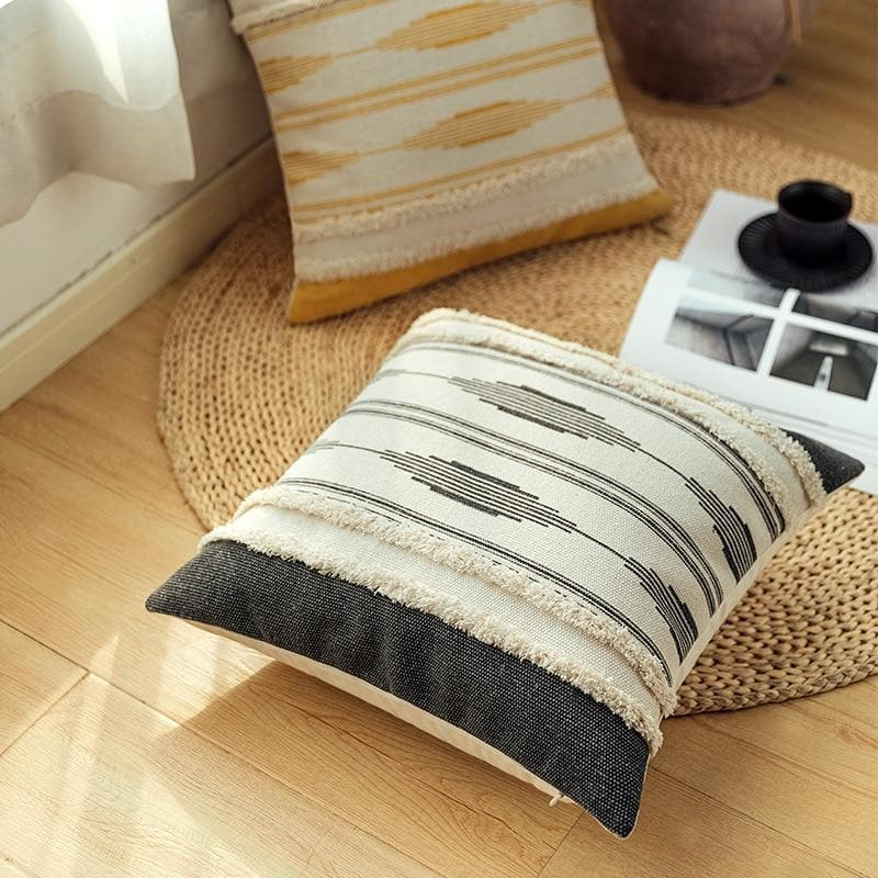 Boho Morroccan Woven Pillow Cover 18x18 inch 12x20 inch black Ivory Yellow