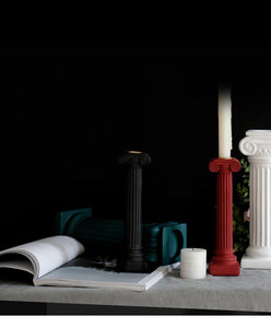 Roman Venus Column Ceramic Candle Holders in White Black Green and Red
