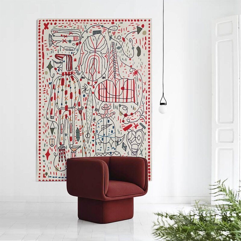 Danish Modern Sketch Abstract Area Rug & Tapestry
