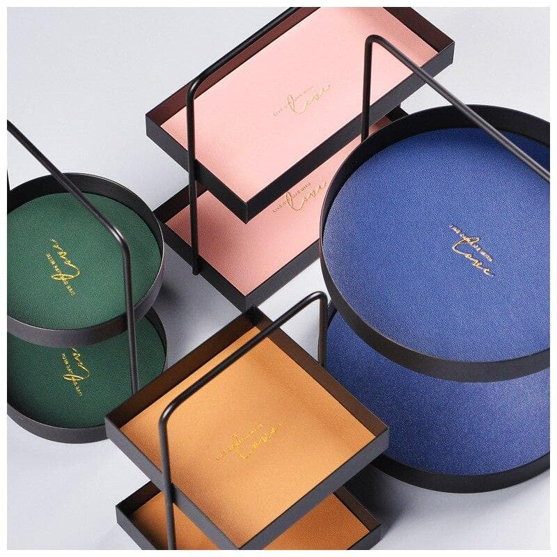 Colorful geometrical leather storage double tier trays