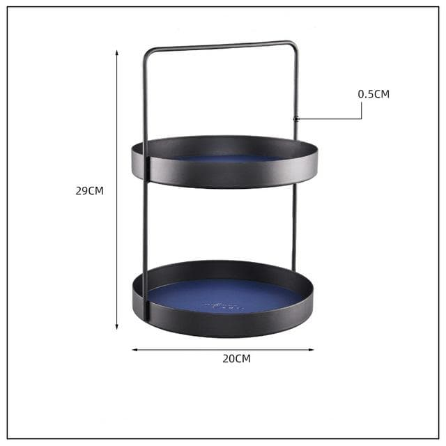 blue round leather storage double tier tray