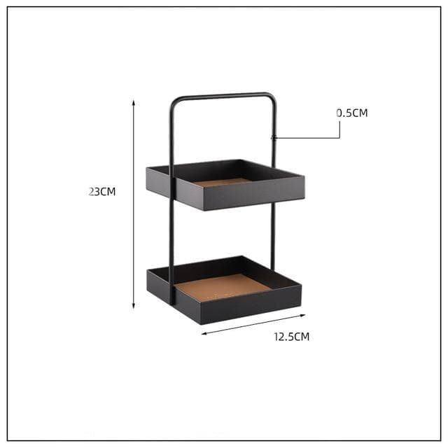 taupe square leather storage double tier tray