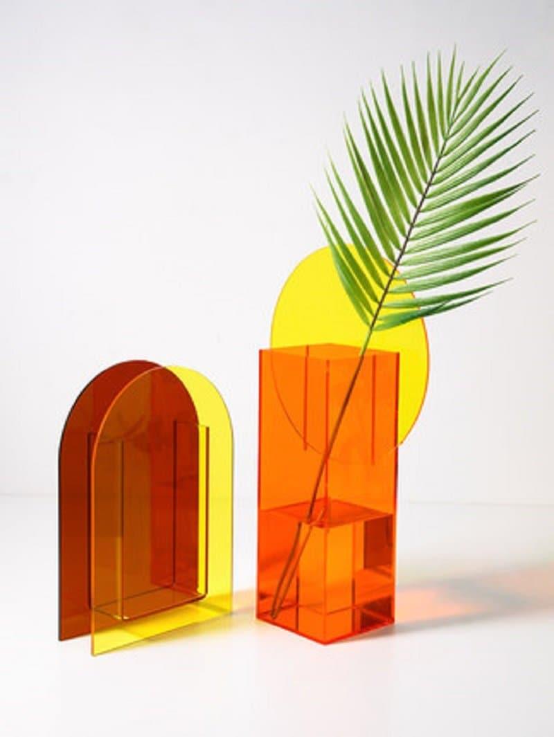 Yellow and brown red Acrylic vases