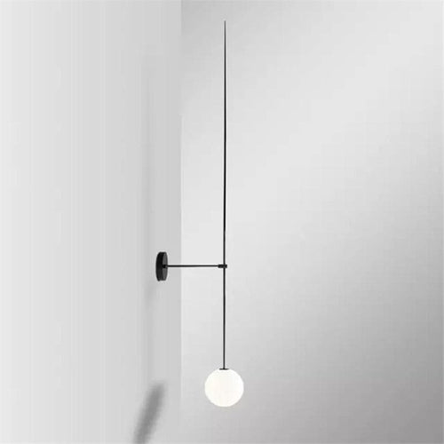Black iron wall lamp with slim rod